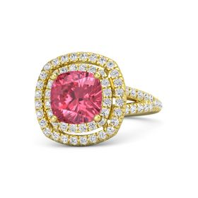 Cushion Pink Tourmaline 14K Yellow Gold Ring with White Sapphire