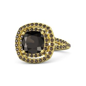 Cushion Smoky Quartz 14K Yellow Gold Ring with Smoky Quartz