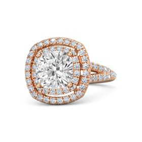Cushion White Sapphire 18K Rose Gold Ring with Diamond