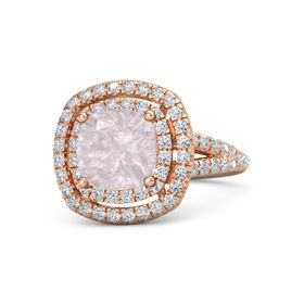 Cushion Rose Quartz 18K Rose Gold Ring with Diamond