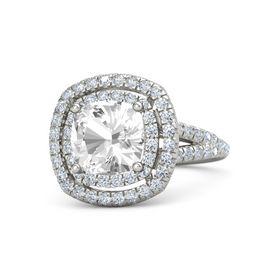 Cushion Rock Crystal 18K White Gold Ring with Diamond