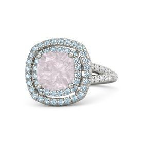 Cushion Rose Quartz 18K White Gold Ring with Aquamarine and White Sapphire
