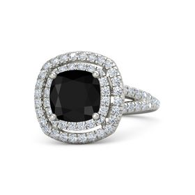 Cushion Black Onyx 18K White Gold Ring with Diamond