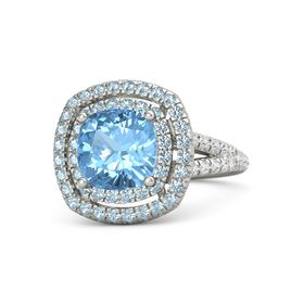 Cushion Blue Topaz 18K White Gold Ring with Aquamarine & White Sapphire