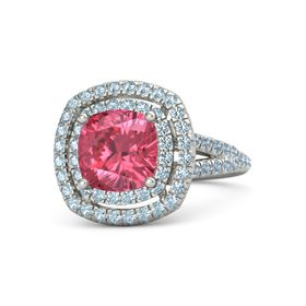 Cushion Pink Tourmaline 18K White Gold Ring with Aquamarine & Blue Topaz