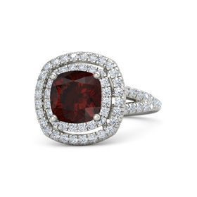 Cushion Red Garnet Palladium Ring with Diamond