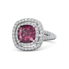 Cushion Rhodolite Garnet Palladium Ring with Diamond
