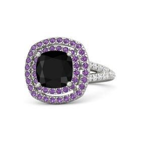 Cushion Black Onyx Palladium Ring with Amethyst and White Sapphire