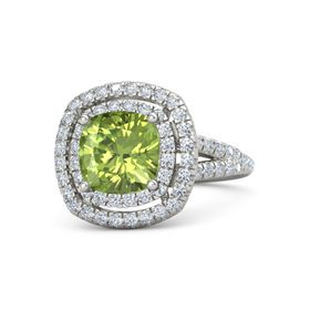 Cushion Peridot Palladium Ring with Diamond