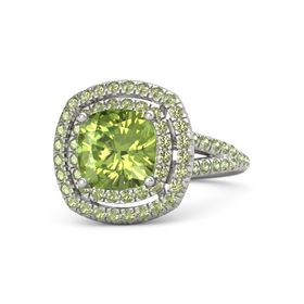 Cushion Peridot Palladium Ring with Peridot