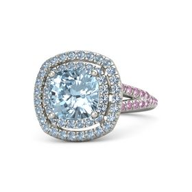 Cushion Aquamarine Palladium Ring with Blue Topaz and Pink Sapphire