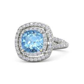 Cushion Blue Topaz Palladium Ring with Diamond