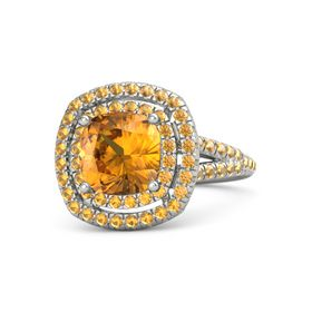 Cushion Citrine Platinum Ring with Citrine