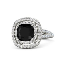 Cushion Black Onyx Platinum Ring with White Sapphire and Diamond