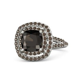 Cushion Smoky Quartz Platinum Ring with Smoky Quartz