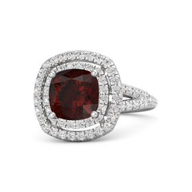 Cushion Red Garnet Sterling Silver Ring with White Sapphire