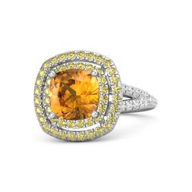 Cushion Citrine Sterling Silver Ring with Yellow Sapphire and White Sapphire