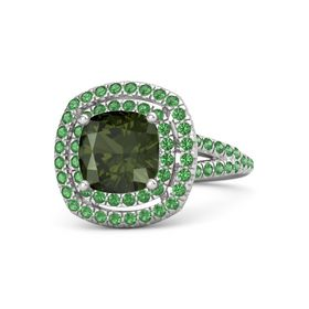 Cushion Green Tourmaline Sterling Silver Ring with Emerald