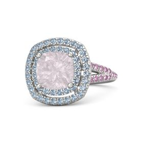 Cushion Rose Quartz Sterling Silver Ring with Blue Topaz and Pink Sapphire