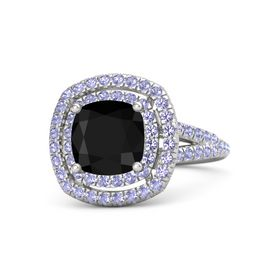 Cushion Black Onyx Sterling Silver Ring with Tanzanite