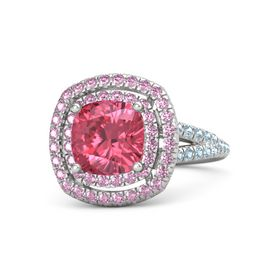 Cushion Pink Tourmaline Sterling Silver Ring with Pink Sapphire & Aquamarine