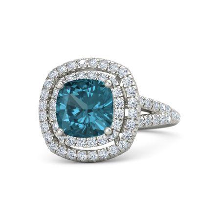 Lillian Ring 8mm Gem Cushion London Blue Topaz Platinum Ring With Diamond