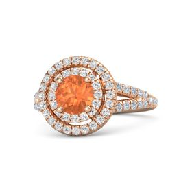 Round Fire Opal 14K Rose Gold Ring with White Sapphire & Diamond