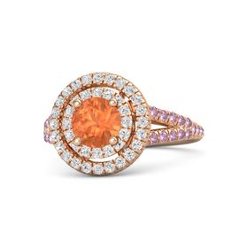Round Fire Opal 14K Rose Gold Ring with White Sapphire and Pink Sapphire