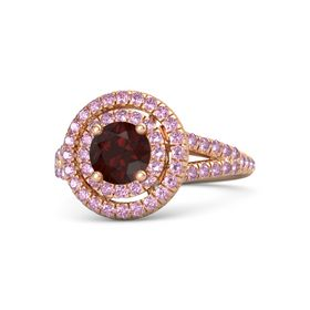 Round Red Garnet 14K Rose Gold Ring with Pink Sapphire