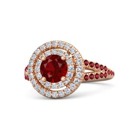 Round Ruby 14K Rose Gold Ring with Diamond & Ruby