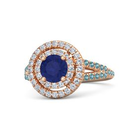 Round Sapphire 14K Rose Gold Ring with Diamond & London Blue Topaz