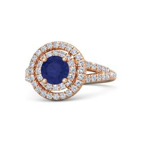 Round Sapphire 14K Rose Gold Ring with Diamond