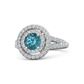 Round London Blue Topaz 14K White Gold Ring with Diamond
