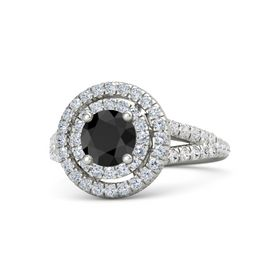 Round Black Diamond 14K White Gold Ring with Diamond and White Sapphire