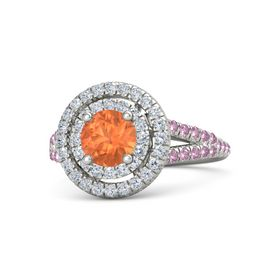 Round Fire Opal 14K White Gold Ring with Diamond & Pink Sapphire