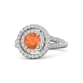 Round Fire Opal 14K White Gold Ring with White Sapphire and Diamond