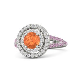 Round Fire Opal 14K White Gold Ring with White Sapphire and Pink Tourmaline