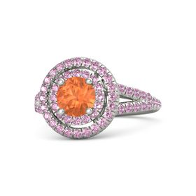 Round Fire Opal 14K White Gold Ring with Pink Sapphire and Pink Tourmaline