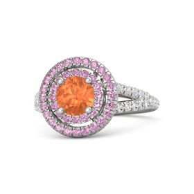 Round Fire Opal 14K White Gold Ring with Pink Tourmaline and White Sapphire