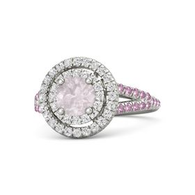 Round Rose Quartz 14K White Gold Ring with White Sapphire and Pink Sapphire