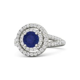 Round Sapphire 14K White Gold Ring with White Sapphire