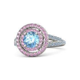 Round Blue Topaz 14K White Gold Ring with Pink Sapphire and Blue Topaz