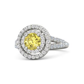 Round Yellow Sapphire 14K White Gold Ring with White Sapphire and Diamond