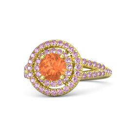 Round Fire Opal 14K Yellow Gold Ring with Pink Sapphire