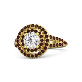 Round White Sapphire 14K Yellow Gold Ring with Red Garnet