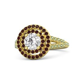 Round White Sapphire 14K Yellow Gold Ring with Red Garnet and Peridot