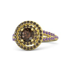 Round Smoky Quartz 14K Yellow Gold Ring with Smoky Quartz & Amethyst