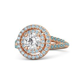 Round White Sapphire 18K Rose Gold Ring with Aquamarine and London Blue Topaz