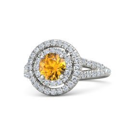 Round Citrine 18K White Gold Ring with Diamond