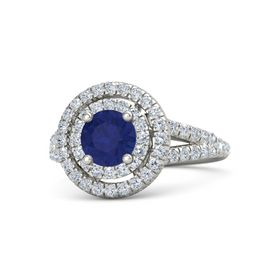 Round Sapphire 18K White Gold Ring with Diamond